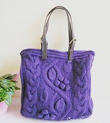 Purple Bag with Bobbles and Cables, by Evelyn Siatra -- knitting pattern