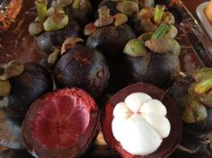 These are mangosteen said to be the best tasting fruit in the world.  Maria and I will be eating these in June 2013 #Thailand