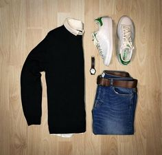 """#ReleasedStyle """"Tomorrow's outfit"""" by @votrends ◼️ - Sweater: Nonationality07 - Shirt: Jachs NY - Shoes: Adidas originals Stan Smith - Jeans: Nonationality07 - Belt: American Eagle - #ReleasedStyle #FlatLay #MensFashion"""