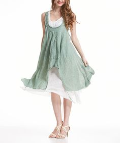 Simply Couture Light Green Crochet-Accent Layered Handkerchief Dress by Simply Couture #zulily #zulilyfinds