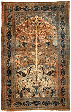 A highly-stylized late 19th century Persian Tabriz antique carpet, the red and brown striated field with scrolling vinery and palmettes overall issuing from a central vine that stems from a lower ivory section with floral motifs and enlarged serrated leaves within a red inscription cartouche border.  Watch full size video of A Persian Tabriz carpet, Circa 1880, ID BB4217 - Video