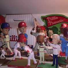 Random shelf guys. Its harder than youd think to display a collection in any sort of fashion other than random. . . . #phillies #philadelphiaphillies #collection #bobbleheads #mikeschmidt #jimmyrollins #chaseutley #gregluzinski #grumps #mcdonalds #chooch #carlosruiz #philliesphanatic #mlb #baseball #philly #philadelphia #philliescollection #philliesfan #philliesnation