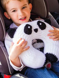 "Panda Travel Pillow/ make your child/ toddler a travelling buddy/ intermediate/ 11""W x 9.5""H x 3""D/ CROCHET pattern"