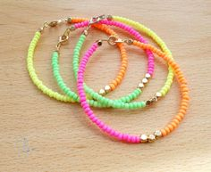 Bright Neon Stacking Bracelets - Set of 4 Mix Match Spring Summer Womens Girls Jewelry - Thin Tiny Seed Beaded Hot Pink Lime Yellow Orange