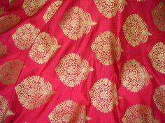 Silk Fabric Banaras lehenga Fabric Carrot Red Brocade