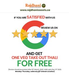 If you are satisfied with Rajdhani Sweets & Restaurant, then review us on Google and get one veg take out thali for free. Review should be posted after 10th Mar 2020, valid UPTO Dec 31st 2020. Monday-Thursday, valid only @TORBRAM location. Call us today 905-789-9901 Monday Thursday, Take Out, Get One, Celebrations, Sweets, Restaurant, Google, Free, Sweet Pastries
