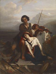 """El poder de la música (""""Le pouvoir de la musique""""). Louis Gallait. 1852. Localización: Museo del Hermitage (San Petersburgo). https://painthealth.wordpress.com/2016/03/02/el-poder-de-la-musica/"""