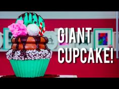 How To Make A GIANT CUPCAKE CAKE! Chocolate Mint, Buttercream, and Chocolate Sauce For My BIRTHDAY! - YouTube