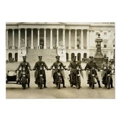Washington D.C. motorcycle police on vintage motorcycles. Antique black and white photo taken in 1922.