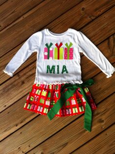 Custom Boutique. Personalized Girls applique Christmas Present Gift twirly skirt & shirt set with name. By EverythingSorella. $48.50, via Etsy.