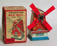 About 6 inches tall, this tin bank was made in Japan by NGS and imported by Cragstan. Set the lever, insert a coin, and the vanes spin as a bell rings. In gently played with condition with only minor