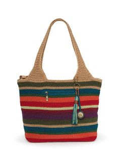 Colorful crocheted tote from The Sak
