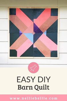 This DIY Barn Quilt is made using 4 smaller pieces of plywood to create the large size making it much easier for anyone to make with simple tools. #Barnquilt #DIY #Decor #Wood Barn Quilt Patterns, Arts And Crafts, Diy Crafts, Paint Drying, Pin Art, Painters Tape, Barn Quilts, Photo Displays, Exterior Paint
