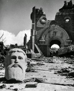 """poetryconcrete:  """"Bust in front of destroyed cathedral two miles from the atomic bomb detonation site,1945, in Nagasaki, Japan.  """""""