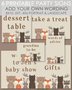 Printable Woodland Themed Party Signs That Can Be Customized