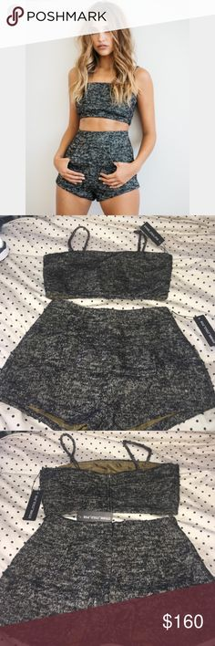 Stone cold fox Geary shorts and crop top set Sz 3 Amazing and fun outfit by stone cold fox. Its made of wool but has a silk lining. Both new with tags. Both size 3 Stone Cold Fox Shorts