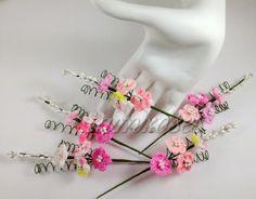 Crochet Pink Short Wedding Flowers Spray