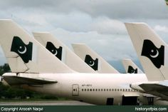 PIA Boeing 747-367. Group of PIA aircraft photographed by Aroosh at Islamabad Airport in August 2006.