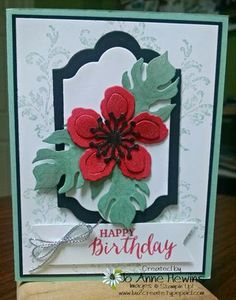 handmade birthday card ... Botancial blooms ... like the three die cut leaves as base for the fower ... Stampin' Up!