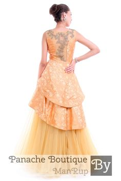 2ace90336b Peach Colour Layered Gown in Brocade by Panache Haute Couture. Contact us  to order or