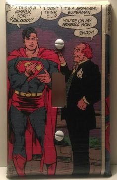 Superman Light Switch Cover, Comic Books, DC Comics, Man of Steel, Clark Kent, Lex Luthor, Handmade by ComicBookCreations01 on Etsy