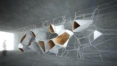 FRGM :03 by Goetz Schrader, via Behance Parametric Architecture, Parametric Design, Architecture Design, Wall Design, Design Art, Instalation Art, Futuristic Interior, Digital Fabrication, Exhibition Display