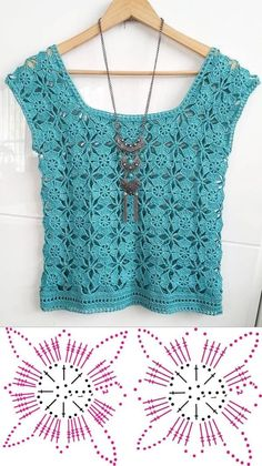 Beautiful blouses made with crochet square ⋆ Facing The Sea Débardeurs Au Crochet, Pull Crochet, Mode Crochet, Crochet Shirt, Crochet Cardigan, Thread Crochet, Crochet Stitches, Crochet Patterns, Crochet Summer Tops