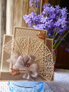 Card made with Joanna Sheen's Signature Dies. This fan cuts really well and is very dainty and delicate.