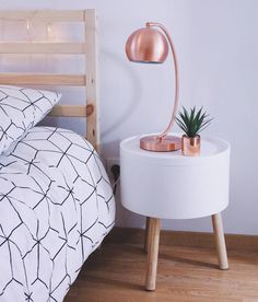 Table de chevet Night table Copper - cuivre - Lampe La Redoute Scandinave - Scandinavian Lit - Bedroom Ikea