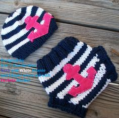 knit Baby Hat and Diaper cover set in Navy and White with Fuchsia Anchor, Made in the USA, gift set, baby fashion, baby hospital outfit