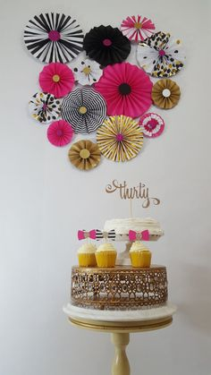 Kate Spade Inspired Black and Pink Rosettes Party or