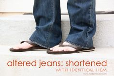 shorten jeans with the original hemline