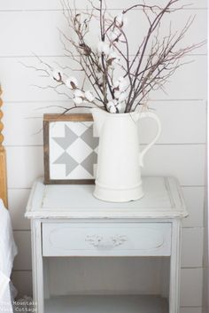 Farmhouse style side table white pitcher