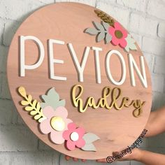 20 Diameter Floral Sign Name Sign Custom Sign Wood image 1 Custom Wood Signs, Wooden Signs, Baby Room Decor, Nursery Decor, Cute Baby Names, Wood Nursery, Wood Name Sign, Giveaways, Wood Stain Colors