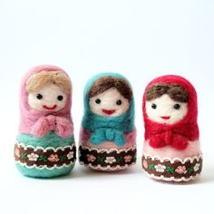 Needle felted doll - wool Russian Matryoshka pink and mint green.  From Catadolls on Etsy