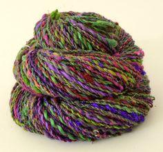 Hand spun yarn DK weight Parasol Hand painted Silk  Falkland wool 410 yards