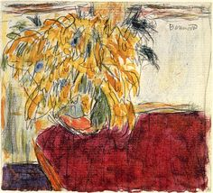 Vase of Flowers on a Red Cloth / Pierre Bonnard - circa 1940