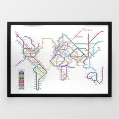 World Tube Map Print by Michael Tompsett - Around the World In 80 Stations - $32.19