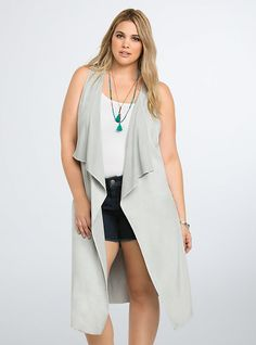 Perforated Faux Suede Drape Vest, LIGHT GRAY