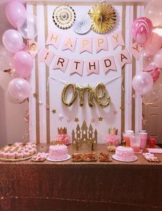 Jessica C's Birthday / Pink and Gold, Princess - Photo Gallery at Catch My Party Princess Theme Birthday, Pink And Gold Birthday Party, 1st Birthday Party For Girls, Girl Birthday Themes, 1st Year Birthday, Pink Princess Party, 1st Birthday Balloons, Birthday Crowns, Princess Crowns