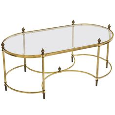 Regency Style Brass and Glass-Top Coffee Table | From a unique collection of antique and modern coffee and cocktail tables at https://www.1stdibs.com/furniture/tables/coffee-tables-cocktail-tables/