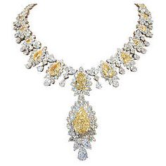 Incredible Yellow and White Diamond Necklace for sale