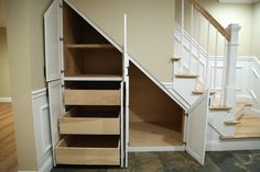 Under Stair Storage Design Ideas, Pictures, Remodel and Decor Basement Storage, Basement Stairs, Basement Bedrooms, Stair Storage, Basement Bathroom, Basement Ideas, Basement Inspiration, Basement Plans, Bathroom Ideas