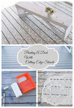 The best DIY projects & DIY ideas and tutorials: sewing, paper craft, DIY. Diy Crafts Ideas Painting A Deck And Using Cutting Edge Stencils - White Lace Cottage -Read Outdoor Projects, Home Projects, Outdoor Decor, Outdoor Living, Craft Projects, Outdoor Stuff, Outdoor Ideas, Garden Projects, Outdoor Spaces