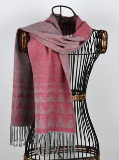 Handwoven Cashmere and Silk Ziggurat Scarf in Kilim Pink and Silver Grey - perfect for Christmas
