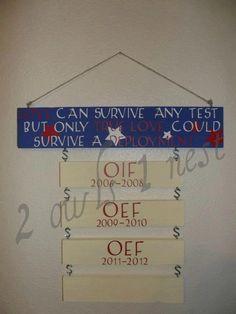 Military deployment sign. $40.00, via Etsy.