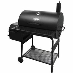 "The Kingsford® Sierra Charcoal Smoker features a 30"" x 20"" main barrel with a square side firebox that offers a total 795 sq. in. cooking area. A smoke stack helps enhance air circulation to provide even cooking, and the cast iron and heavy-gauge expanded metal cooking grates are durable and easy to clean. The 6.75"" blow-mold wheels ensure easy transportation, and the smoker has a thermometer and a storage rack for convenience."
