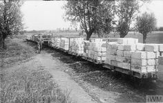 WWI light railway wagons loaded with concrete blocks for bulding dug-outs ZANDVOORDE Rail Transport, Prisoners Of War, Concrete Blocks, World War One, Panzer, Gauges, Belgium, Wwii, Trench