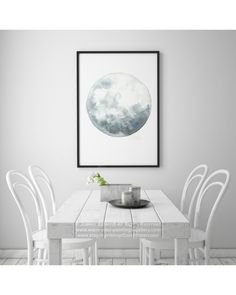 Full Moon Art, Luna Watercolor Painting, Blue Wall Decor, Gray Blue Moon Phase Abstract Print, Lunar Home Decor, Astronomy Phases Calendar by ColorWatercolor on Etsy