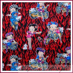 BonEful Fabric FQ Cotton Betty Boop Fire Flame Motorcycle Biker Pin Up Girl RARE | eBay